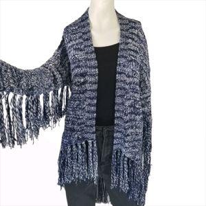 GUESS Boho Fringe Cable Knit Cardigan Blue White